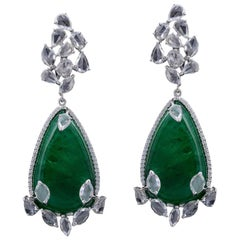 Set in 18 Karat Gold, Natural Russian Emerald and Rose Cut Diamond Earrings