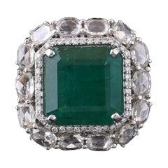 Set in 18 Karat Gold Natural Zambian Emerald and Rose Cut Diamonds Cocktail Ring