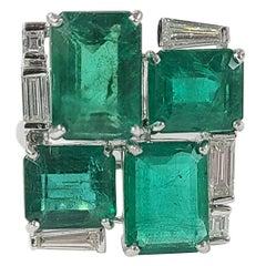 18 Karat Gold Natural Zambian Emerald Ring with Diamonds