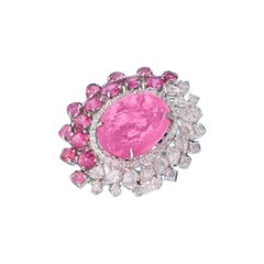 Set in 18 Karat Gold, Pink Tourmaline, Pink Sapphire and Diamond Pendant