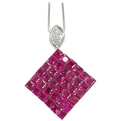 18 Karat Gold Ruby Pendant Invisible Setting