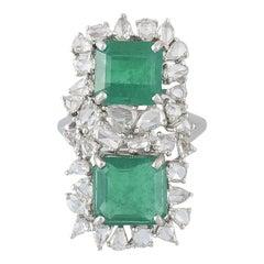 18 Karat Gold Zambian Emerald and Rose Cut Diamonds Cocktail Ring