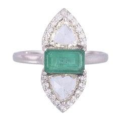 Set in 18 Karat Gold, Zambian Emerald & Rose Cut Diamonds Artistic Cocktail Ring