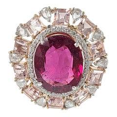 18 Karat Rose Gold Rubellite and Morganite Ring with Diamonds