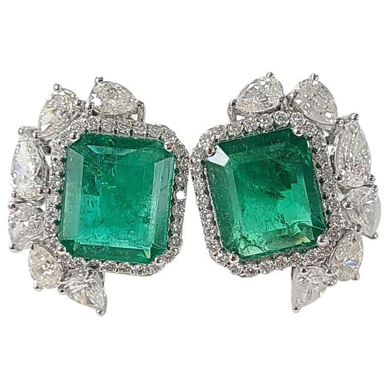 18 Karat White Gold Natural Zambian Emeralds Studs with Diamonds For Sale
