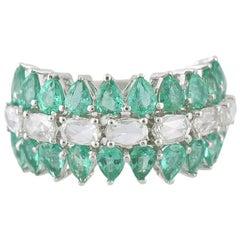 18 Karat Gold White Gold Zambian Emerald and Rose Cut Diamonds Half, Band Ring