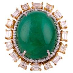 Set in 18K, 48.45 Carat Zambian Emerald Cabochon & Yellow Diamond Cocktail Ring