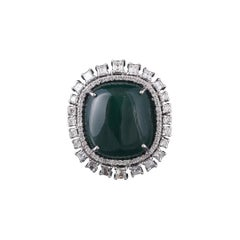 Set in 18k Gold, 38.25 Carat Emerald Cabochon & Princess Diamonds Cocktail Ring