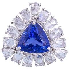 18K Gold 3.92 Carat Trillion Tanzanite and Rose Cut Diamond Cocktail Ring