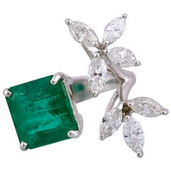 Set in 18k Gold, 4.23 Carat Zambian Emerald and Marquise Diamonds Cocktail Ring