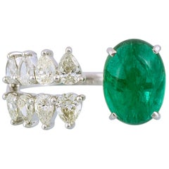 18K Gold 4.30carat Zambian Cabochon Emerald & Pear Diamond Cocktail Ring