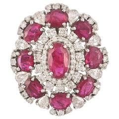 Set in 18 Karat Gold, 5.87 Carat, Natural Ruby and Diamonds Cocktail Ring