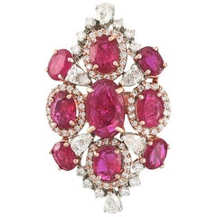 18k Gold 6.10 Carat, Natural Mozambique Ruby and Diamonds Cocktail Ring