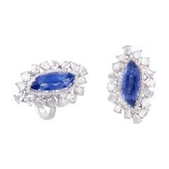 18k Gold 7.00 Cts Ceylon Blue Sapphire & Rose Cut Diamonds Cocktail Ring