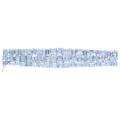 18k Gold Aquamarine & Diamonds Convertible Choker Necklace and Bracelet