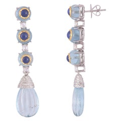 Set in 18K Gold, Blue Sapphire In-Laid with Aquamarine Drop Chandelier Earrings