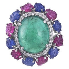 Set in 18 Karat Gold Cabochon Emerald, Carved Ruby & Blue Sapphire Cocktail Ring