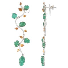 Set in 18K Gold, Carved Zambian Emerald and Colored Diamonds Chandelier Earrings