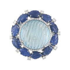 Set in 18K Gold, Caved Aquamarine, Carved Blue Sapphire & Diamonds Cocktail Ring