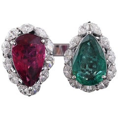 Set in 18k Gold, Natural, Emerald, Tourmaline and Diamonds 2-Stone Cocktail Ring