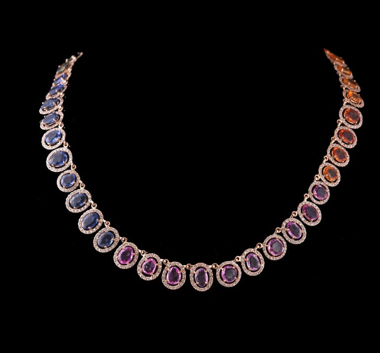 Modern Set in 18 Karat Gold, Natural, Multi, Sapphire and Diamonds Chocker or Necklace For Sale