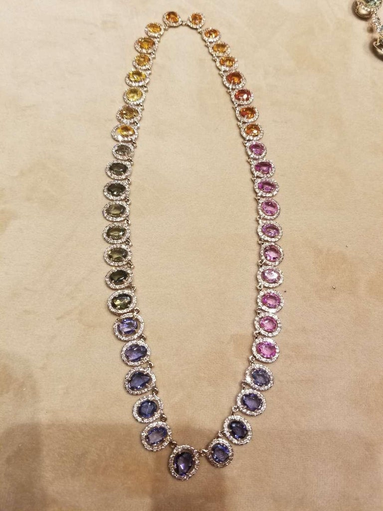 Rose Cut Set in 18 Karat Gold, Natural, Multi, Sapphire and Diamonds Chocker or Necklace For Sale