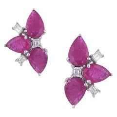 18K Gold Natural Pear Shaped Mozambique Ruby & Diamonds Stud Earrings