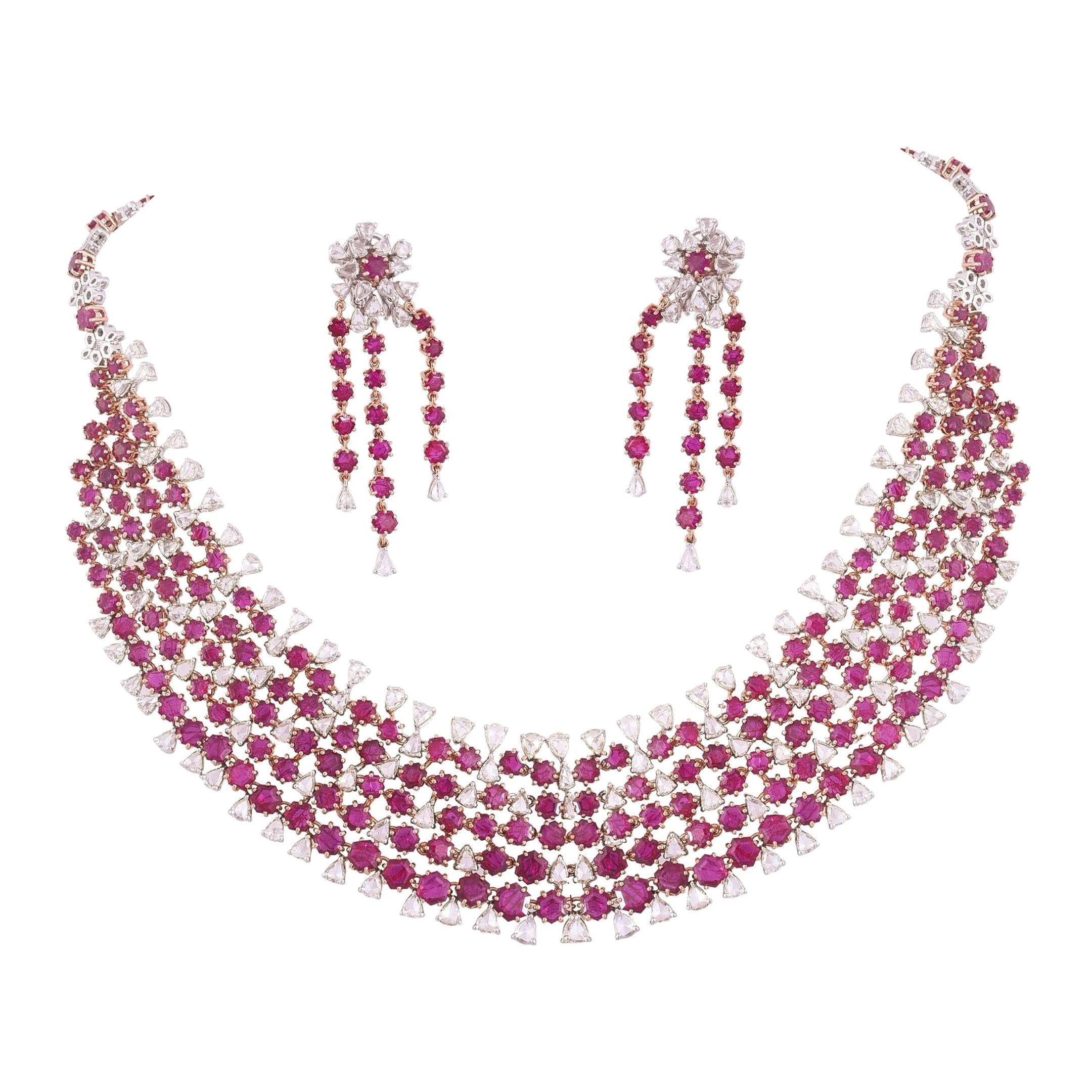 Natural Ruby & Rose Cut Diamonds Choker Necklace Set & Earrings In 18 Karat Gold