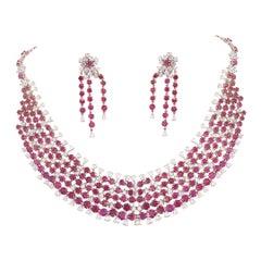 18k Gold, Natural Ruby & Rose Cut Diamonds Choker Necklace Set & Earrings