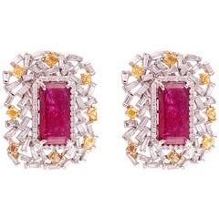 Set in 18k Gold, Natural Ruby, Yellow and White Baguette Diamonds Stud Earrings