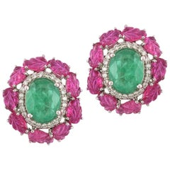 Set in 18k Gold, Natural Zambian Emerald, Carved Ruby and Diamonds Stud Earrings