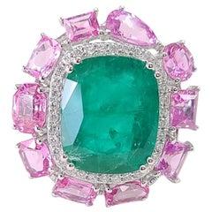 18k Gold Natural Zambian Emerald Pink Sapphire & Diamond Cocktail Ring