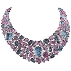 Pink Tourmaline  Aquamarine  Diamond Gold Necklace Earrings Set