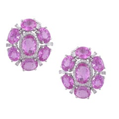 Set in 18K Gold, Rose Cut Pink Sapphire from Madagascar & Diamonds Stud Earrings