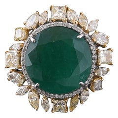 Set in 18k Gold, Round Zambian Emerald and Fancy Yellow Diamonds Cocktail Ring