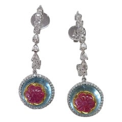 18K Gold Ruby on Aquamarine and Rose Cut Diamonds Dangle Drop Earrings