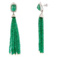 Set in 18k Gold, Sugarloaf Emerald, Emerald Tassel & Diamond Chandelier Earrings