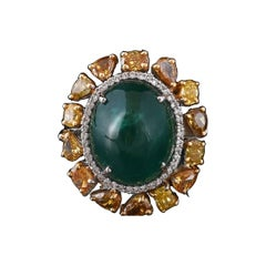 Set in 18K gold, Zambian Cabochon Emerald & Fancy Canary Diamonds Cocktail Ring