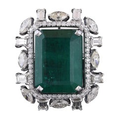 Set in 18K Gold, Zambian Emerald and Marquise & Baguettes Diamonds Cocktail Ring