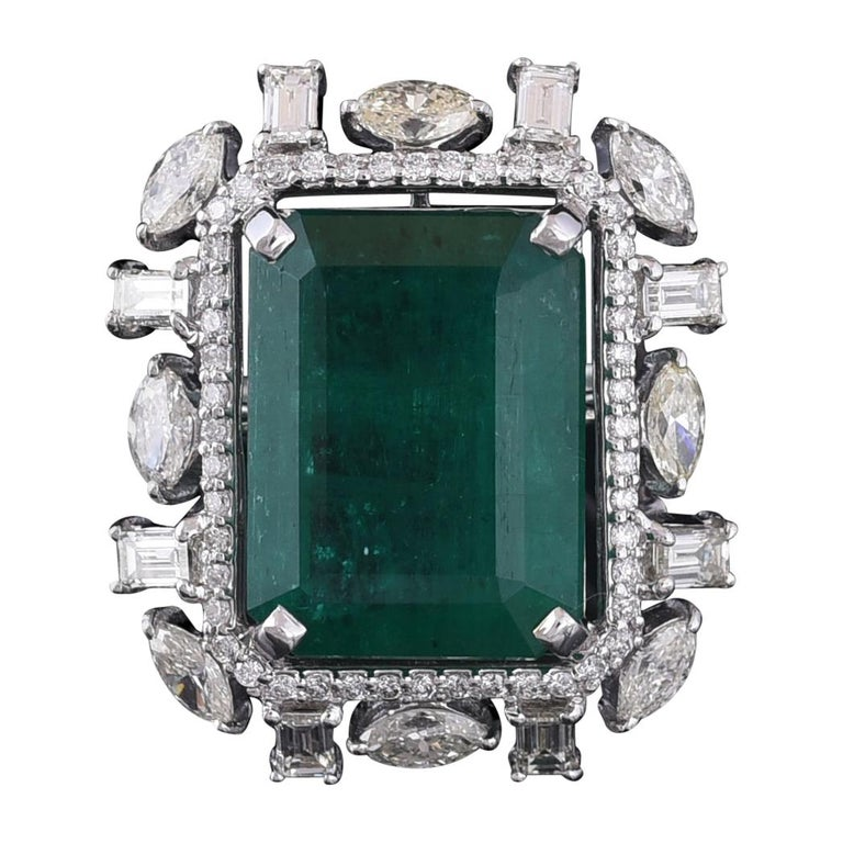 Set In 18k Gold Zambian Emerald And Marquise And