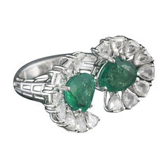 Set in 18k Gold, Zambian Emerald and Rose Cut Diamonds Two-Finger Cocktail Ring