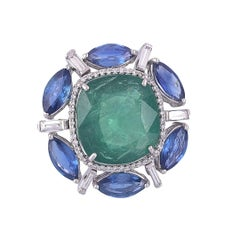 Set in 18K Gold, Zambian Emerald, Ceylon Blue Sapphire & Diamonds Cocktail Ring