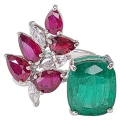 Set in 18K Gold Zambian Emerald Marquise Mozambique Ruby & Diamond Cocktail Ring