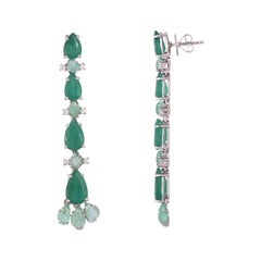 Set in 18k Gold, Zambian Pear Shaped Emerald and Russian Carved Emerald Earrings