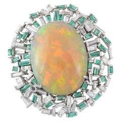 18K Gold Ethiopian Opal,Baguette Emerald & Baguette Diamond Cocktail Ring