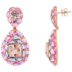 18K Gold Natural Morganite Pink & Blue Sapphire & Diamond Chandelier Earrings
