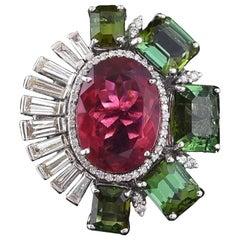 18k Gold Pink Tourmaline, Green Tourmaline & Baguette Diamonds Cocktail Ring
