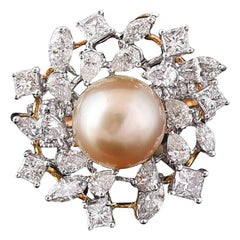 Set in 18k Rose Gold, Natural Fresh Water Pearl and Fancy Diamonds Cocktail Ring