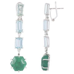 18 Karat Gold Aquamarine, Emeralds and Diamonds Chandelier Earrings