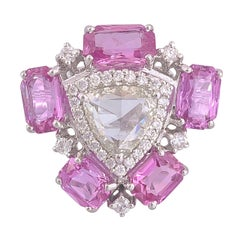 Set in 18k White Gold, Art Deco Rose Cut Diamond and Pink Sapphire Cocktail Ring